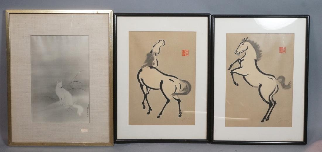 3pc Asian Art. Pr signed Horse Prints. Signed whi