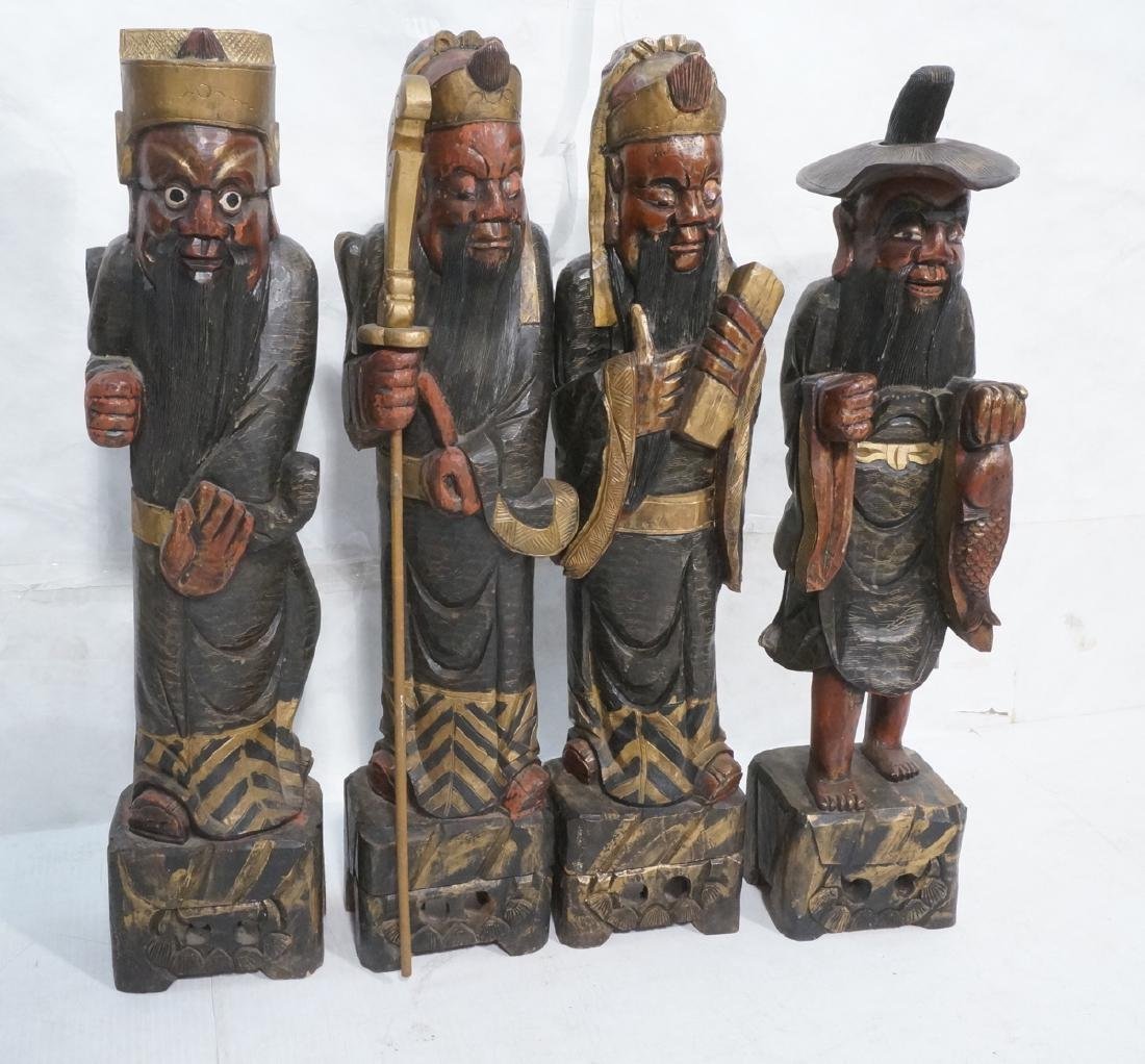 """4 Carved Wood Polychrome Chinese Dieties. 41"""" Tal"""