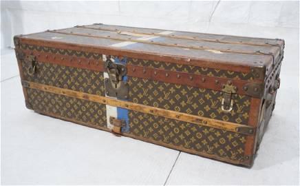 Vintage LOUIS VUITTON Wood Strap Steamer Trunk. W