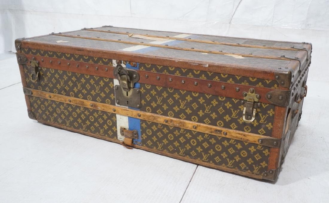 Vintage LOUIS VUITTON Wood Strap Steamer Trunk. W