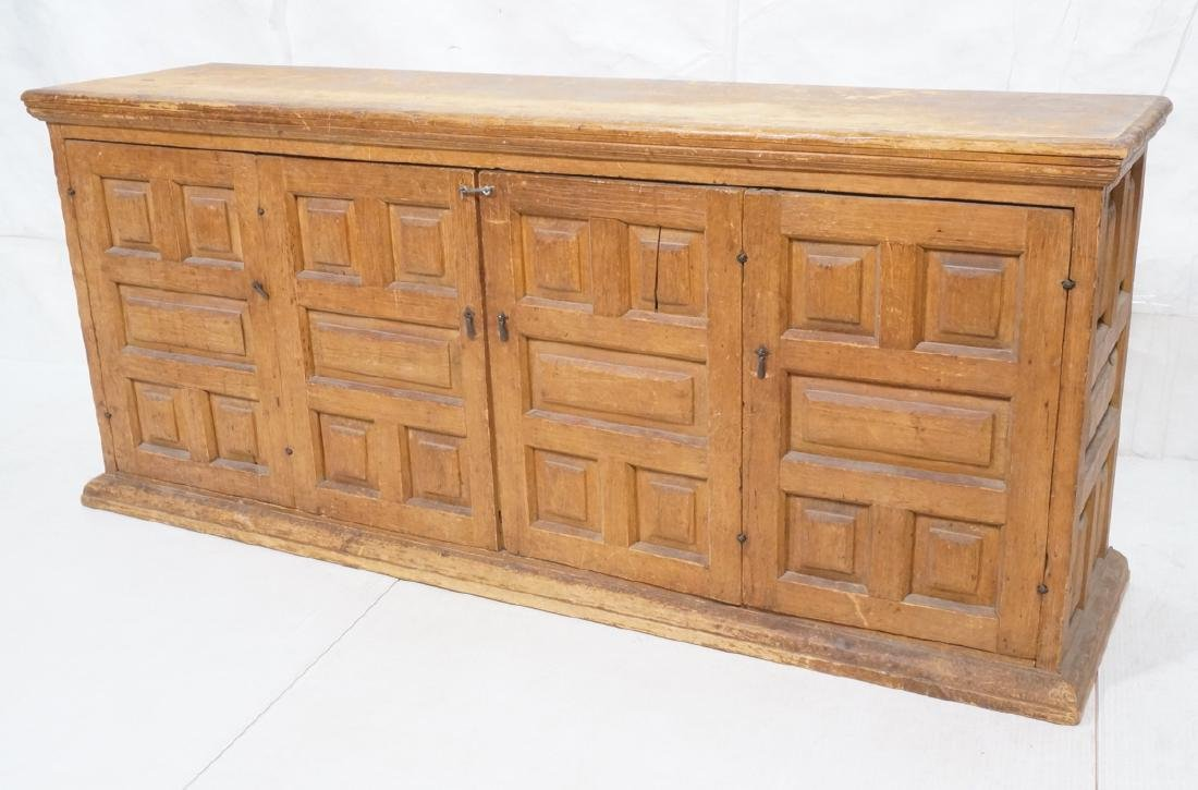 Antique Lg Long 2 Door Cabinet Credenza. Deep pan