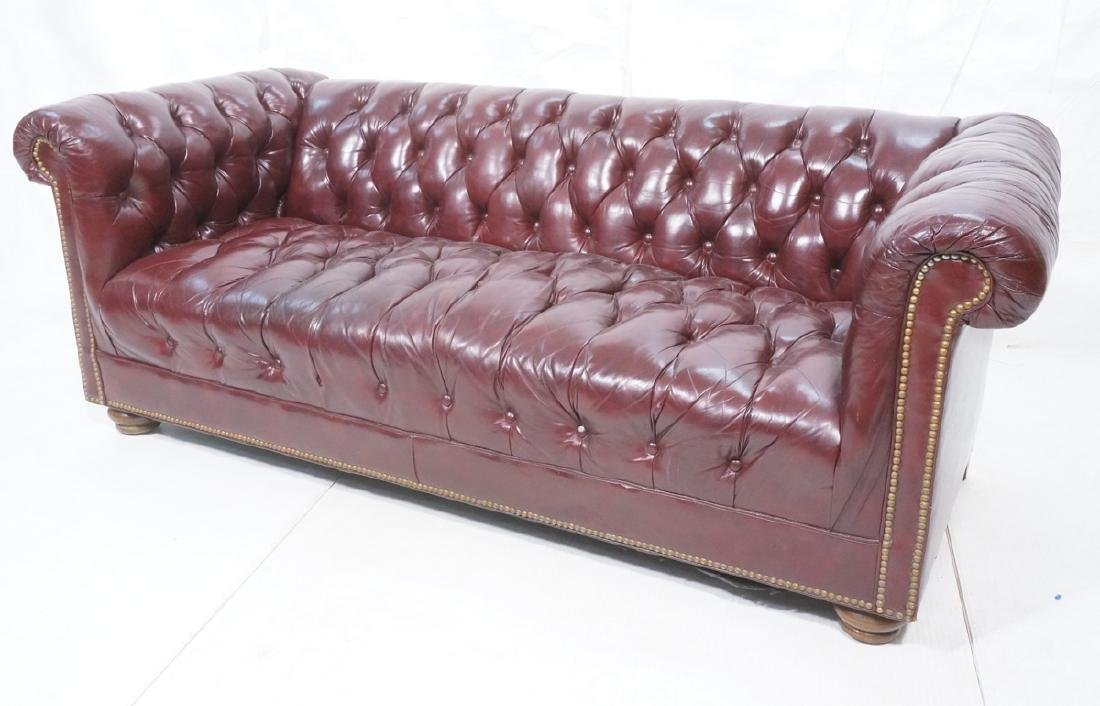 Lg Vintage Leather Chesterfield Sofa Couch. Tufte