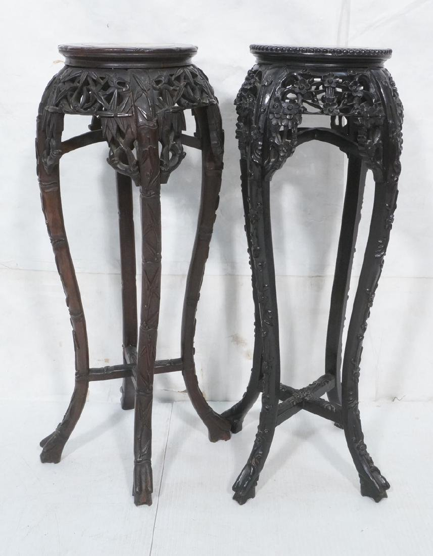 2 Carved Wood Tall Asian Display Stands. Round to