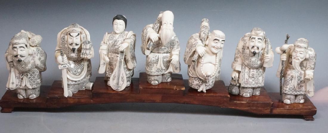 """8.5"""" Vintage Carved Figural Sculptures '7 Immorta"""