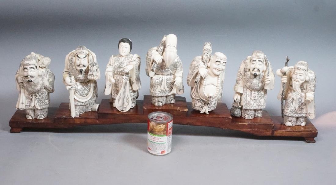 "8.5"" Vintage Carved Figural Sculptures '7 Immorta - 2"