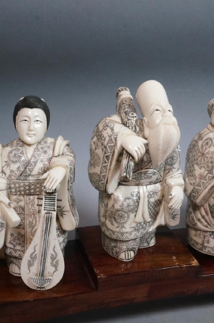 """8.5"""" Vintage Carved Figural Sculptures '7 Immorta - 6"""