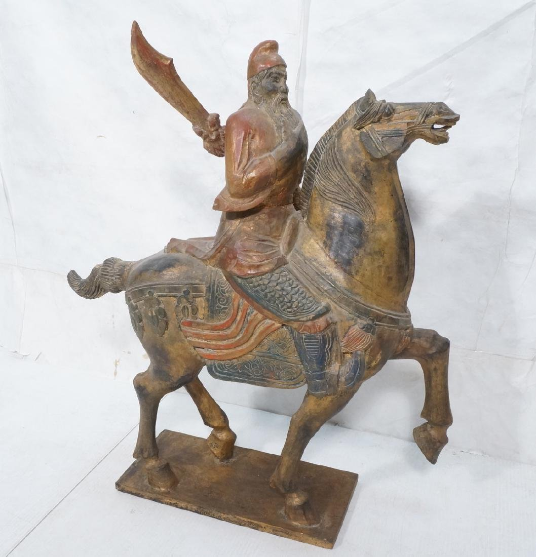 Lg Vintage Carved Chinese Warrior Man Riding Hors