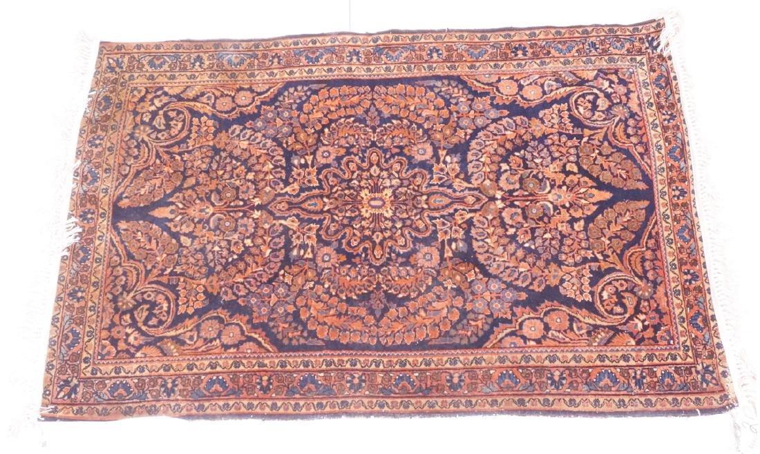 "5'1"" x 3'5"" Handmade Sarouk Style Carpet Rug. Flo"