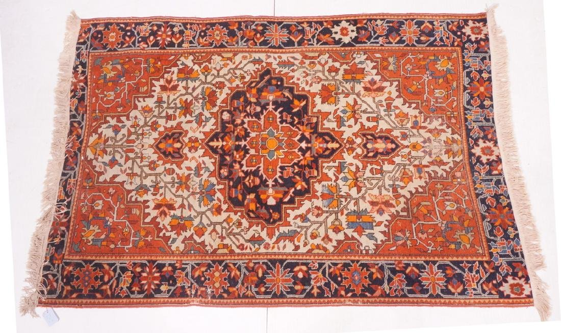 "5'3"" x 3'6"" Handmade Heriz Style Carpet Rug. Cent"