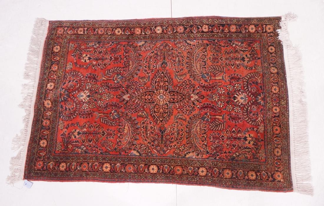 "5' x 3'5"" Handmade Sarouk  Style Carpet Rug. Over"