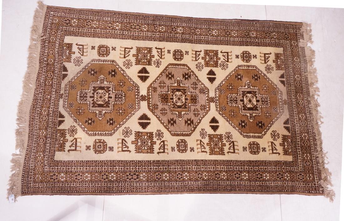 "7' x 4'9"" Handmade Oriental Carpet Rug. Tan and b"