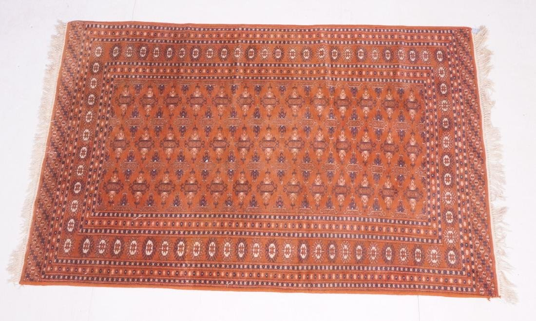 "6'1"" x 4"" Repeating pattern, rust background."