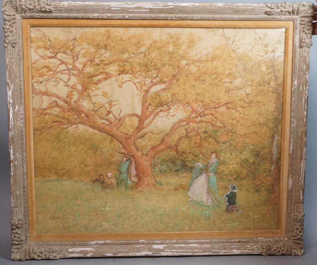 W. RAINEY Watercolor Landscape Scene. Large tree