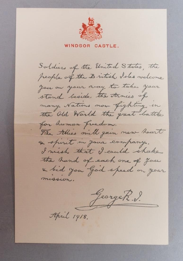 King George V Signed Letter on Windsor Castle Sta