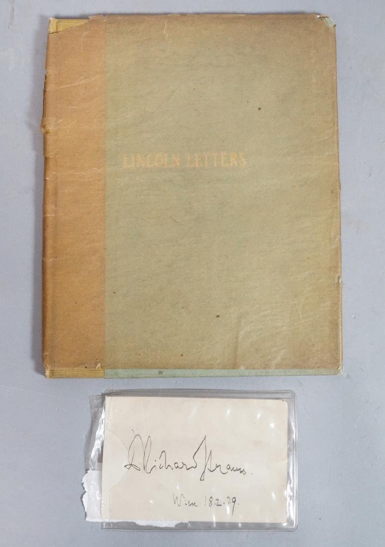 "2pc Ephemera Lot. Book ""Lincoln Letters"" copyrigh"