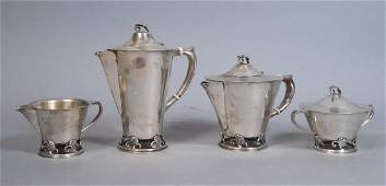 4pc Sterling Silver Wood Lily Tea Set Frank Smit
