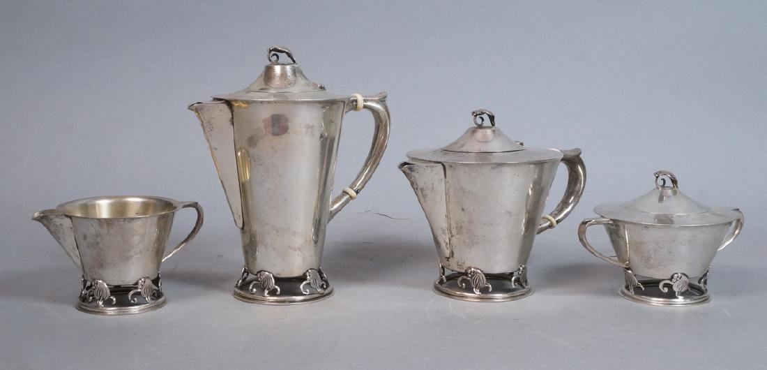 4pc Sterling Silver Wood Lily Tea Set. Frank Smit