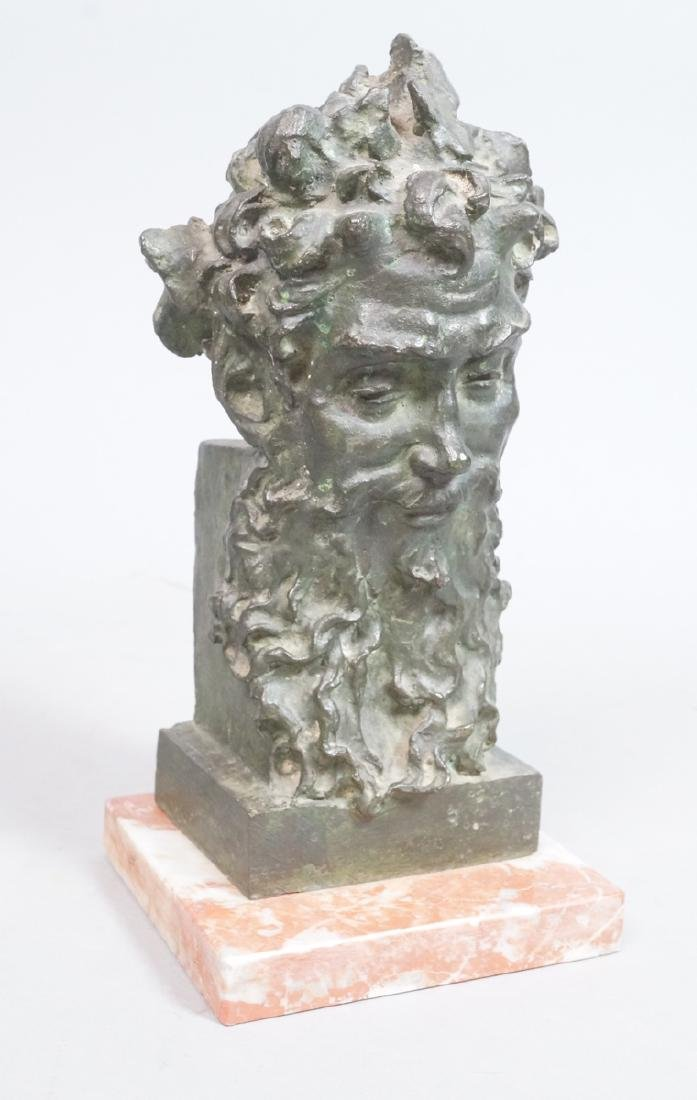 Cast Bronze Portrait Bust Bearded Man. A. CARESTI