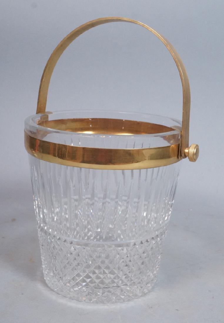 Vintage Cut Crystal Ice Bucket Gilt Metal Trim &