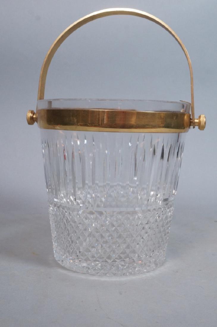 Vintage Cut Crystal Ice Bucket Gilt Metal Trim & - 2