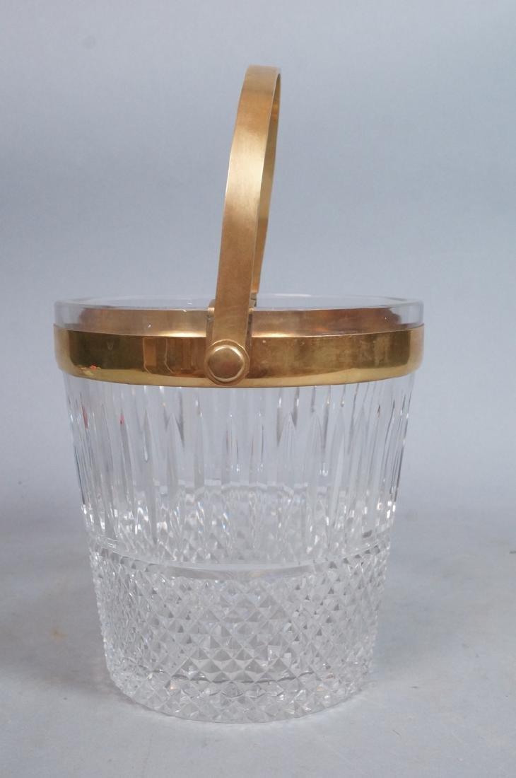 Vintage Cut Crystal Ice Bucket Gilt Metal Trim & - 3