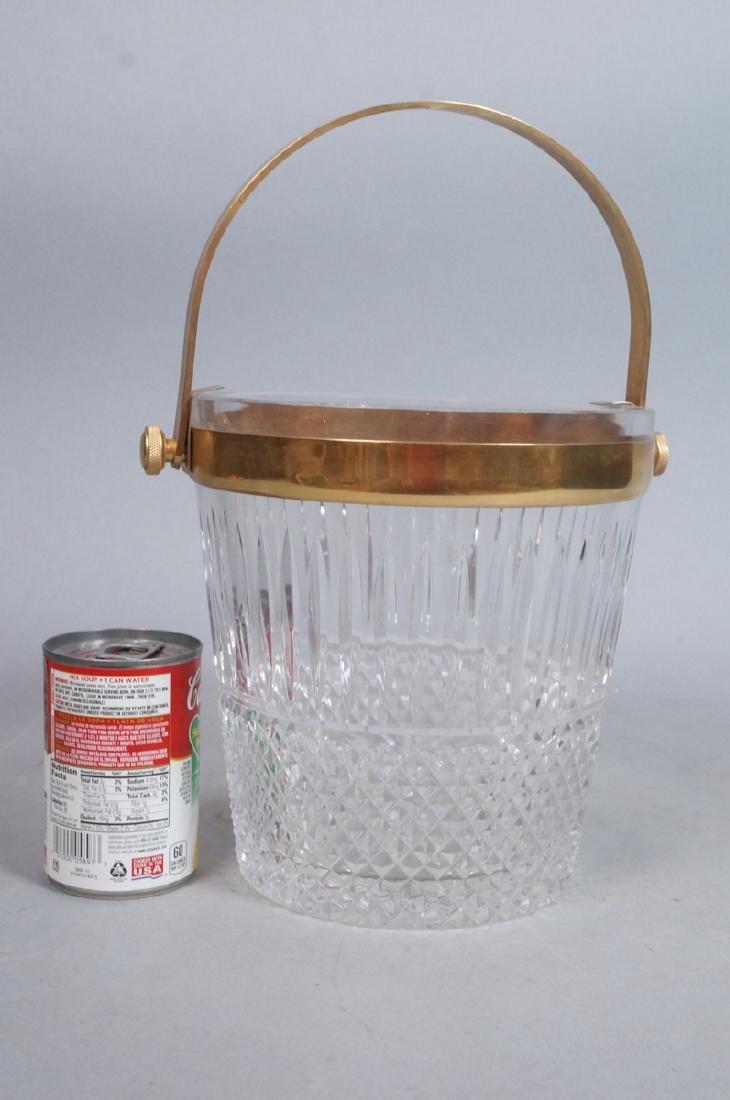 Vintage Cut Crystal Ice Bucket Gilt Metal Trim & - 4