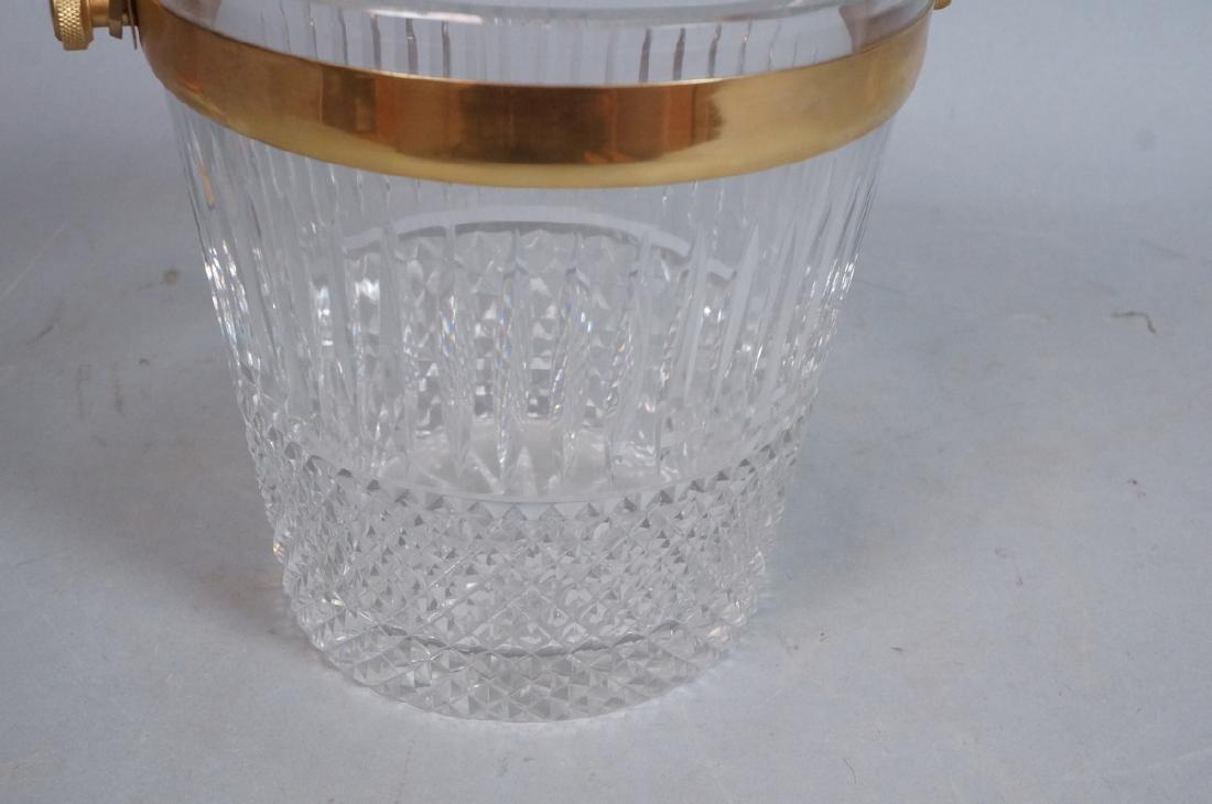 Vintage Cut Crystal Ice Bucket Gilt Metal Trim & - 5
