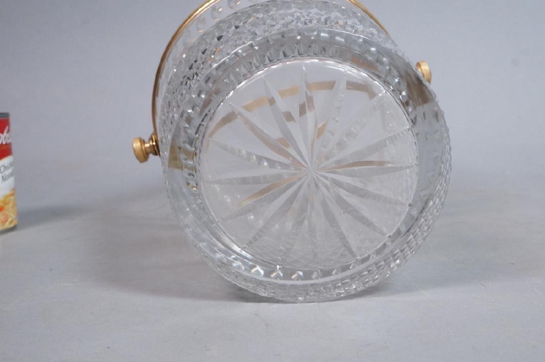 Vintage Cut Crystal Ice Bucket Gilt Metal Trim & - 6