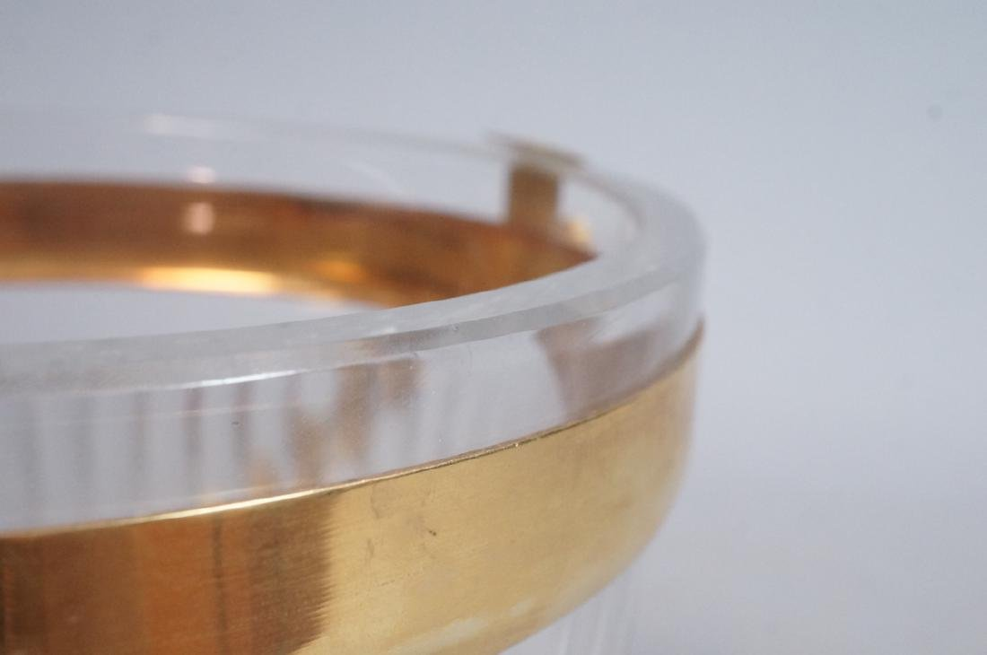 Vintage Cut Crystal Ice Bucket Gilt Metal Trim & - 8