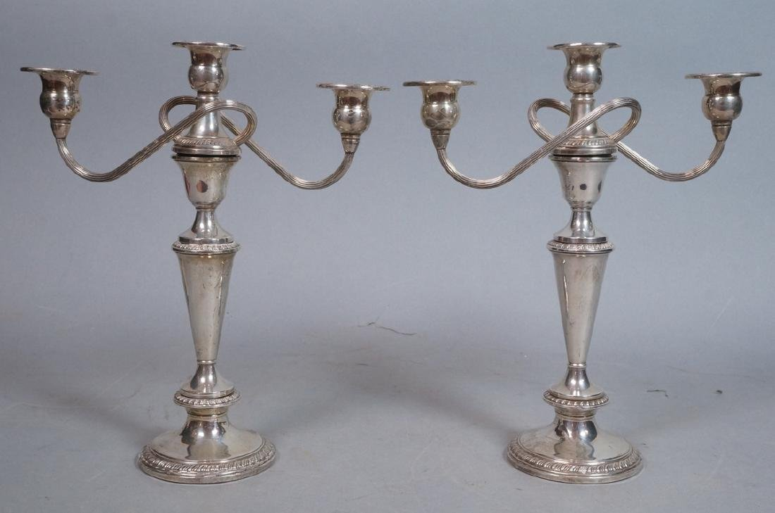 Pr Sterling Silver 2 Arm Candelabras. 4 part cons