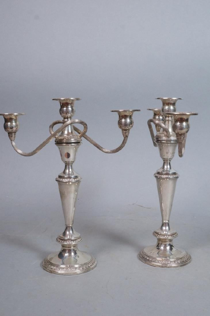 Pr Sterling Silver 2 Arm Candelabras. 4 part cons - 3