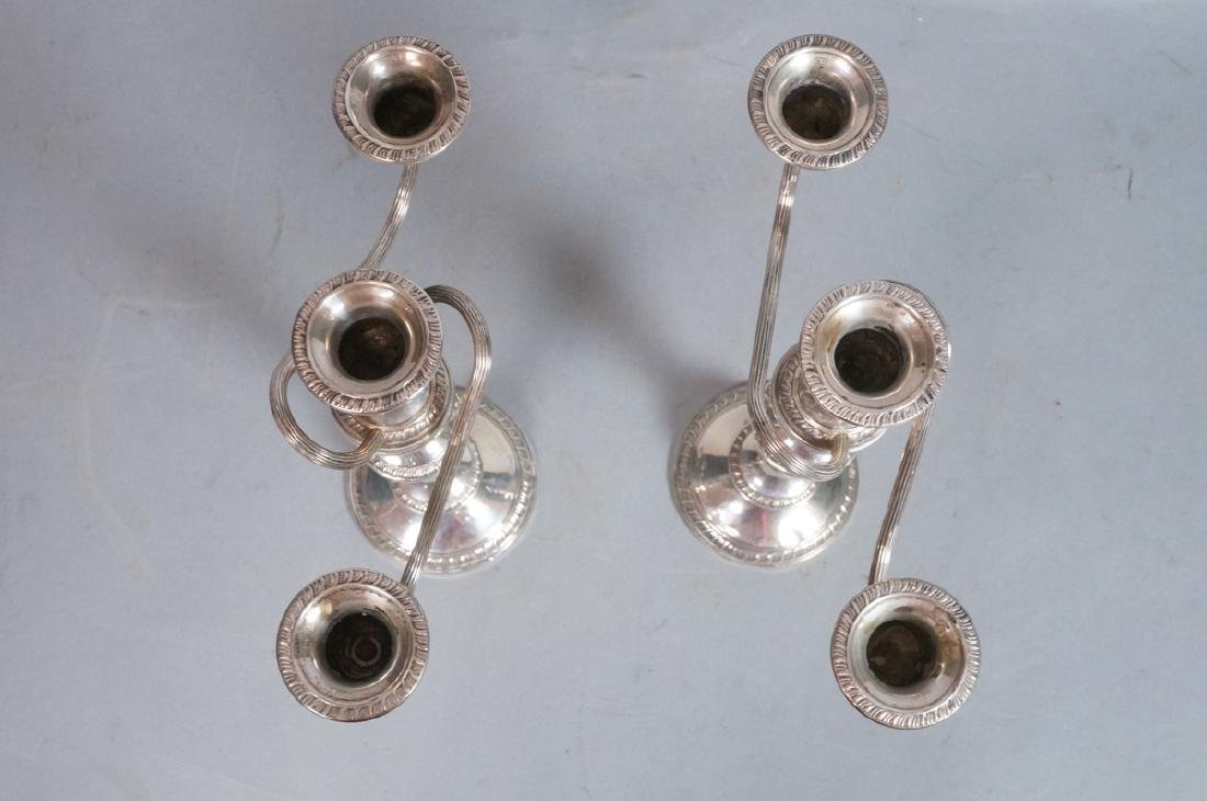 Pr Sterling Silver 2 Arm Candelabras. 4 part cons - 4