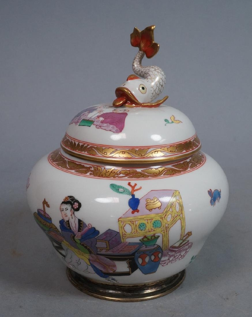 HEREND Hungary Handpainted Covered Vase. Sterling