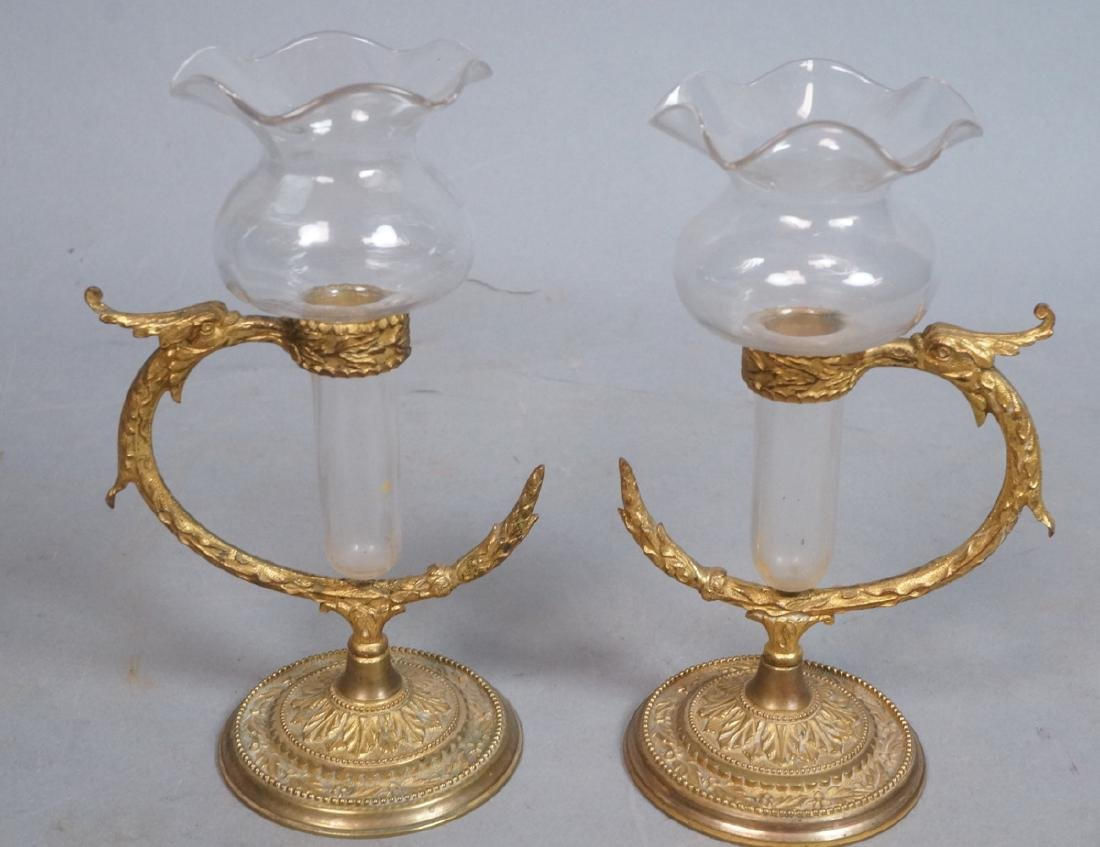 Pr OSLER Gilt Bronze Cast Bud Vase Holders. Round
