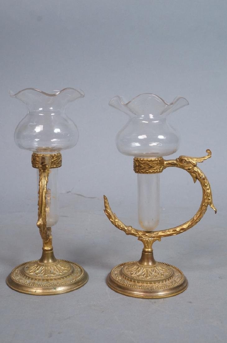 Pr OSLER Gilt Bronze Cast Bud Vase Holders. Round - 3