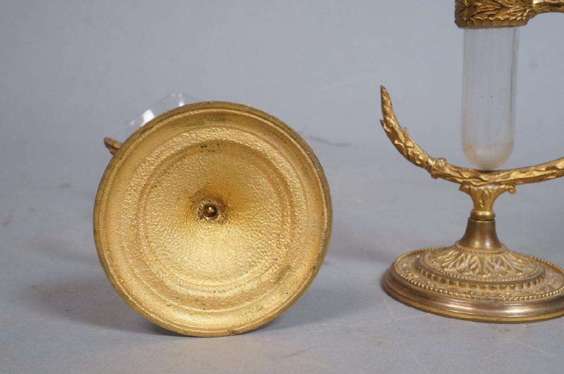 Pr OSLER Gilt Bronze Cast Bud Vase Holders. Round - 8