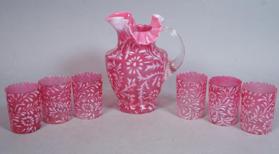 7pc Antique Cranberry Glass Drink Set. Pitcher wi