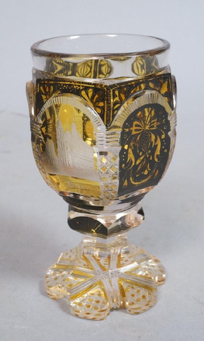 MOSER Style Etched Glass Goblet Chalice. 6 etched