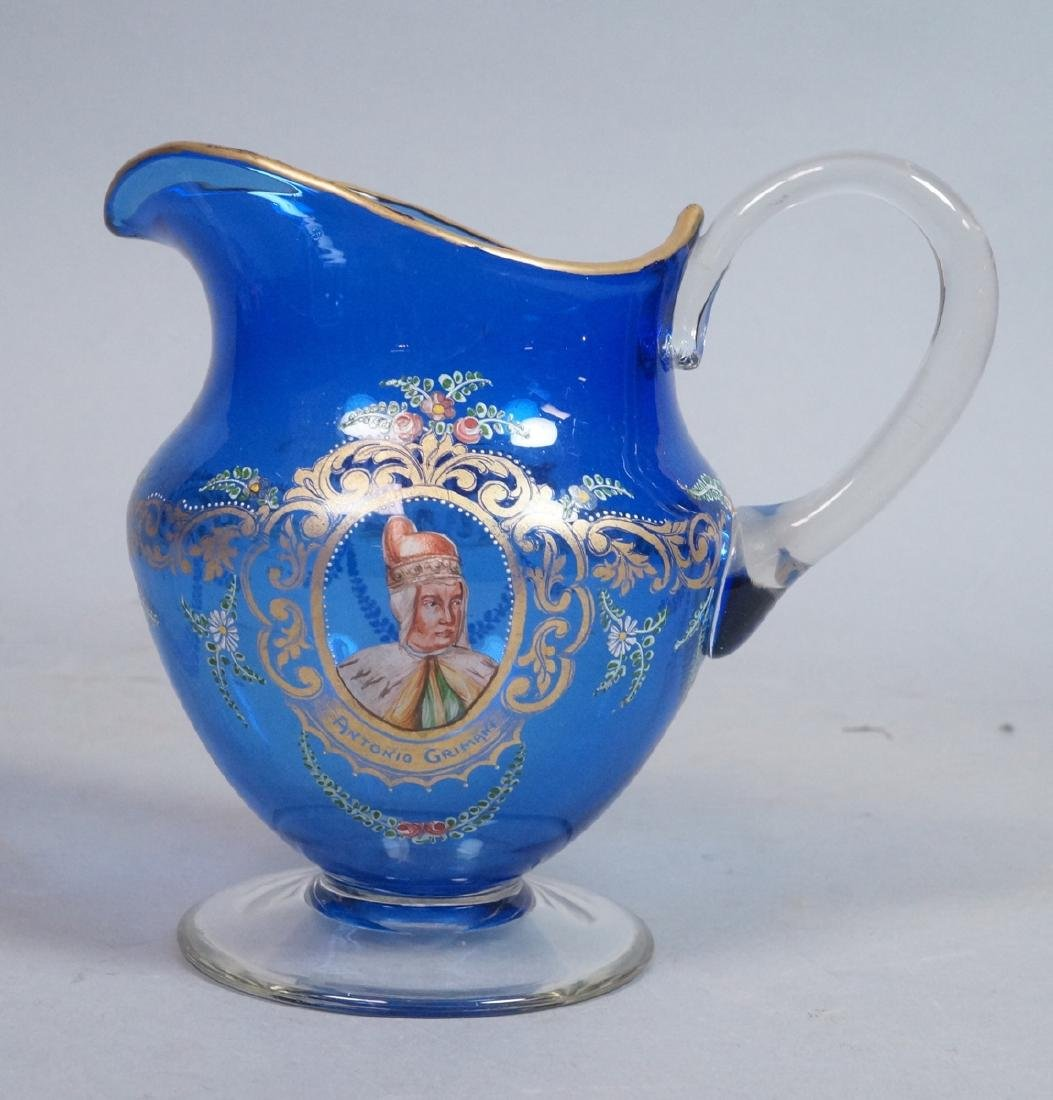 MOSER Style Cobalt Glass Pitcher. Enamel paint de