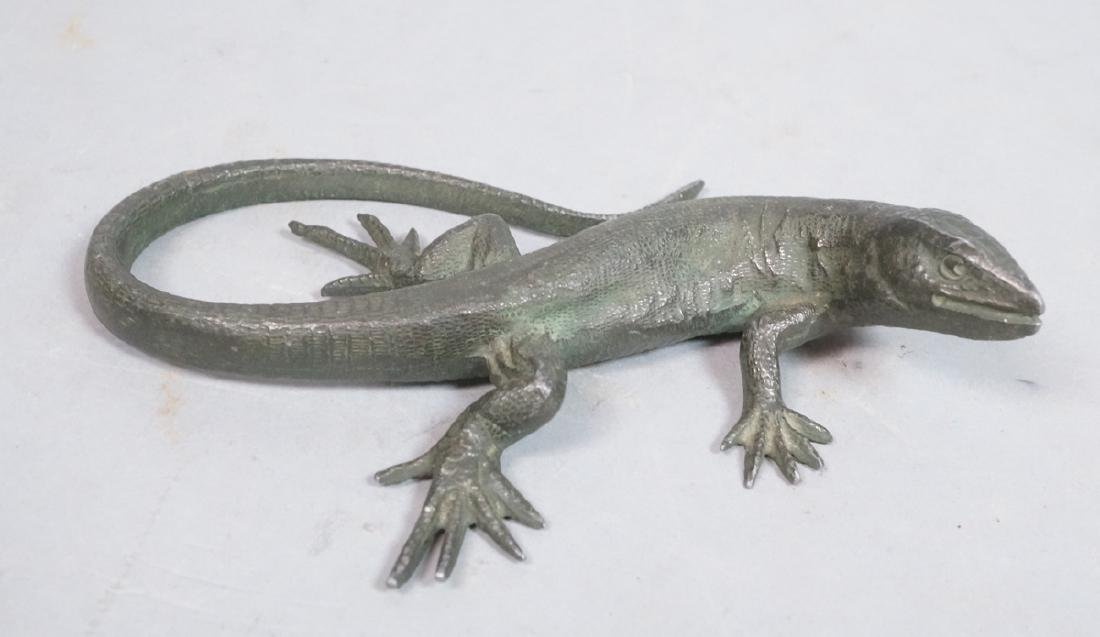 Italian Cast Bronze Lizard Figural Sculpture. Det