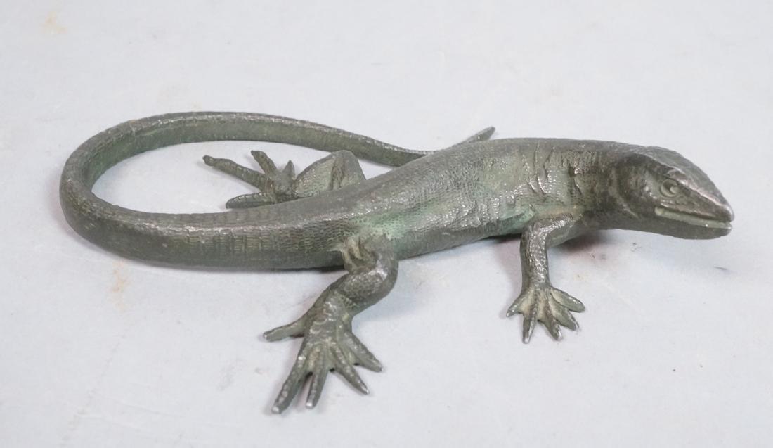Italian Cast Bronze Lizard Figural Sculpture. Det