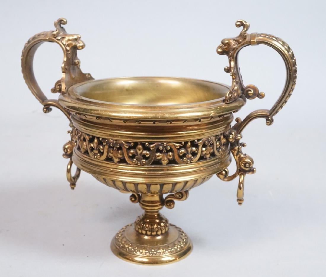 Cast Bronze Decorative Tazza Compote. Pedestal ba