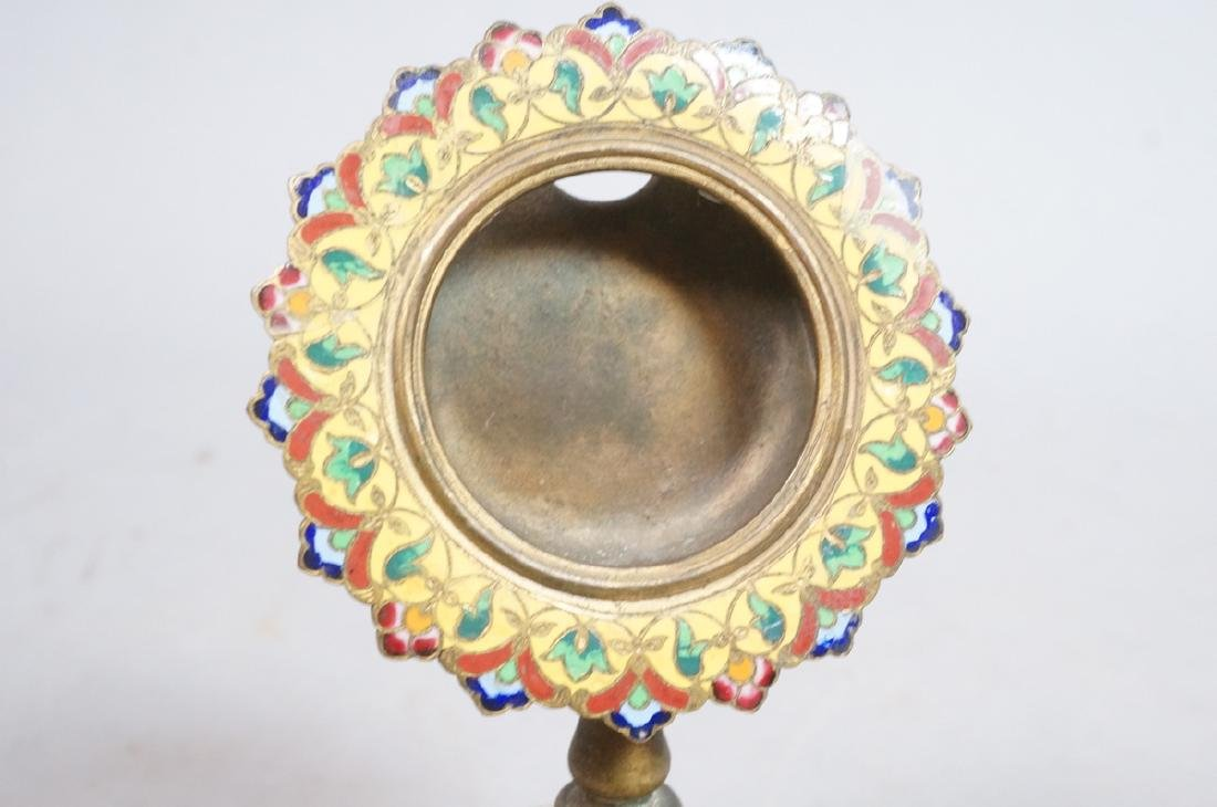 Antique Cloisonne Enamel Pocket Watch Holder. Foo - 10