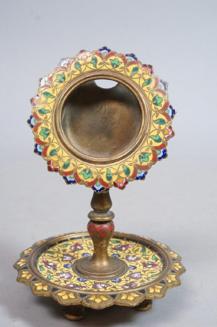 Antique Cloisonne Enamel Pocket Watch Holder. Foo - 2