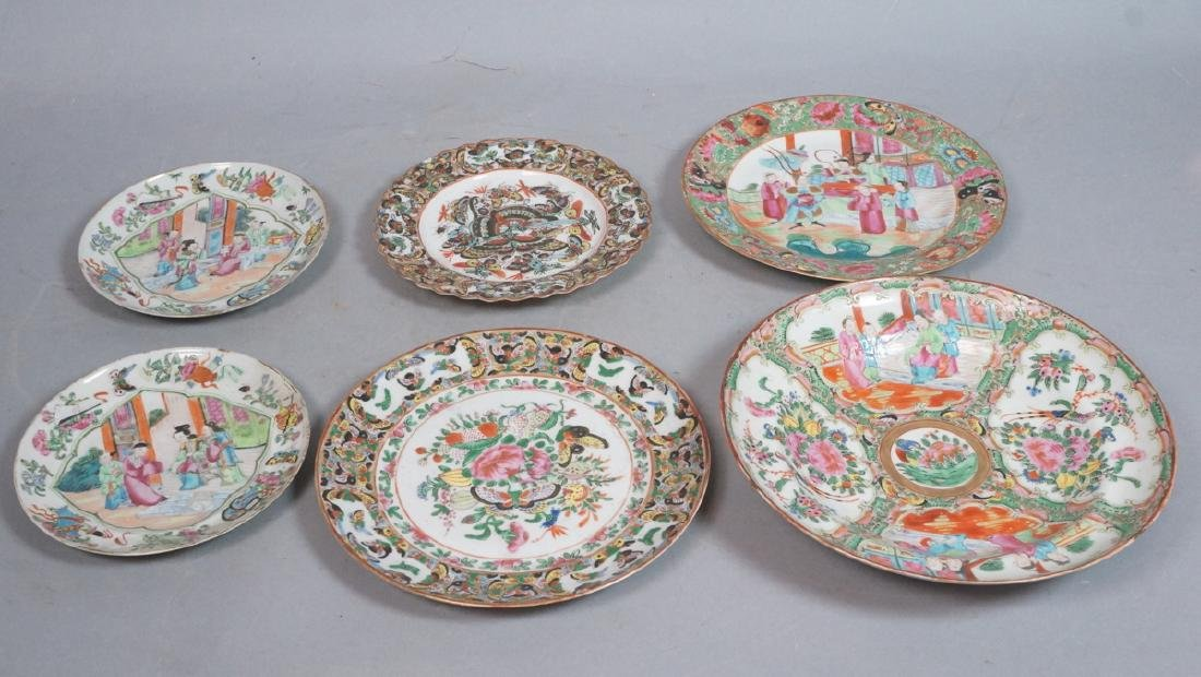6pc Chinese Porcelain Vintage Plates Bowls. 2 bee