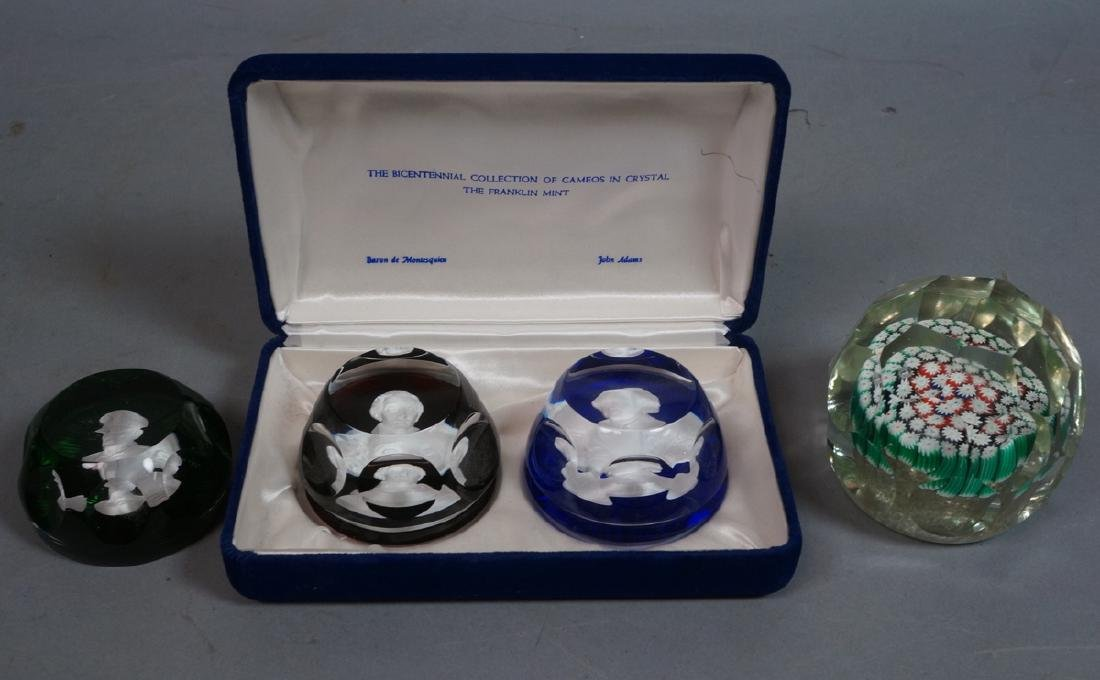 4 Vintage Glass Paperweights. 2 BACCARAT Sulphide