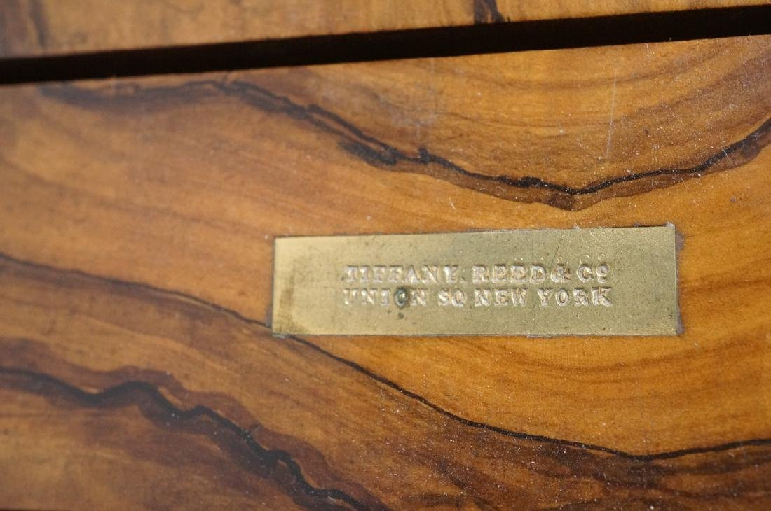 TIFFANY REED & CO. Burled wood book ends. Applied - 6