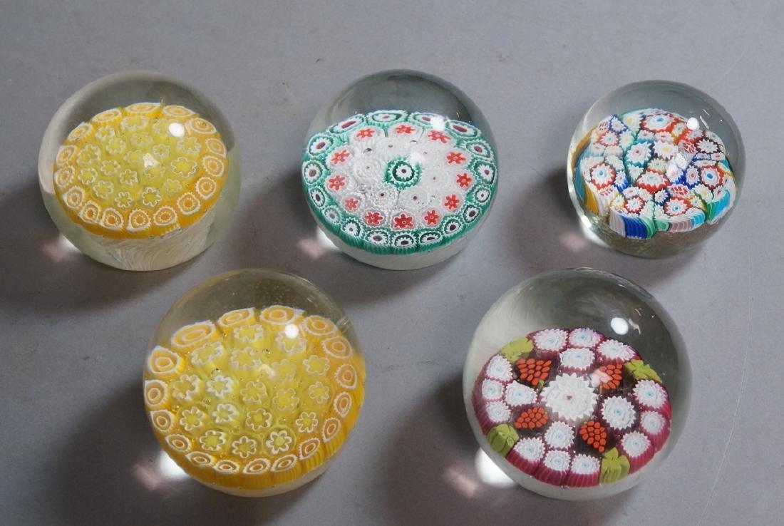 5 Millefiori Murano Italian Crystal Paper Weights