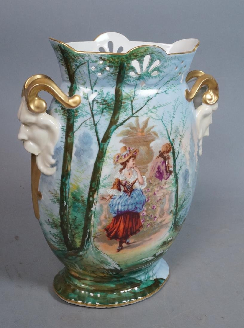 Lg Porcelain Vase Scenic Printed Design. Figural