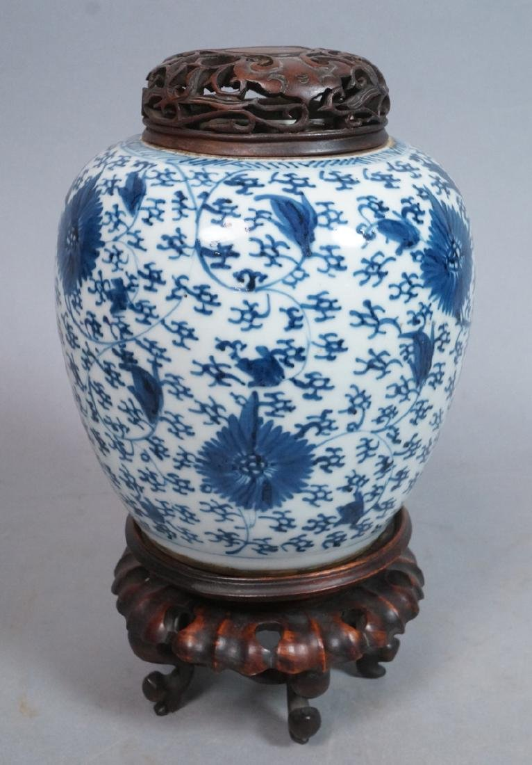 Antique Chinese Ginger Jar Vase. Glazed stoneware